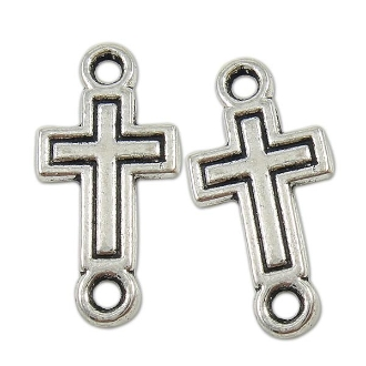 100/Pkg Tiny 3D Cross Connector Antique silver 1.5 x 1.1cm Wholesale bulk prices