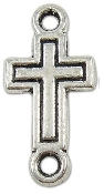 Tiny 3D Cross Connector Antique silver 1.5 x 1.1cm Wholesale bulk prices