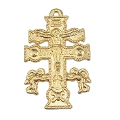 "Beautiful 5/Pc Caravaca Catholic Crucifix Cross Gold Finish 1 1/2""-Exquisite Caravaca Cross Our Deluxe Crucifixes are known for the most Beautiful intricate designs for Charms, Necklace-Pendant-Italy-Cruz De Cavavaca- Keyword cava vaca"
