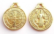 "25/PC St Benedict Jubilee BRIGHT Gold FINISH Medal 3/4"" ROUND"