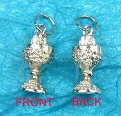 IHS Communion Chalice Pendant Charm Silver Plated 11/16""
