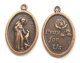 "100+ 49¢ ea St Francis Assisi Christian medal COPPER 1"" oval PRAY FOR US"