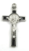 "Our Deluxe Catholic Saint Benedict are known for the most Beautiful intricate designs - Saint Benedict Crucifix Bright Silver Finish Black Enamel 2 1/8""-Color Epoxy Enamel"