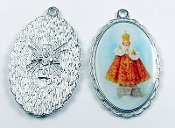 "Infant of Prague Medal SILVER Color Picture 1 1/2"" oval"