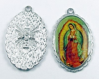 "Lady of Guadalupe Medal 1 1/2"" oval SILVER Color Picture"