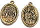 "Holy Spirit/Holy Family Medal Antique Gold Charm 1"" oval"