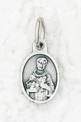 "25/Pc Tiny Oval Saint Francis of Assisi medal Charm 1/2"" Silver-Catholic medals-Bracelet size, Rosary parts, necklace etc. This exceptionally detailed Medal is made in the region of Italy that produces the finest quality medals in the world."