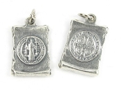 Small Saint Benedict silver oxidized medal Bracelet charm 3/4""