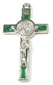 "Our Deluxe Catholic Saint Benedict are known for the most Beautiful intricate designs - Saint Benedict Crucifix Bright Silver Finish Green Enamel 2 1/8""-Color Epoxy Enamel"