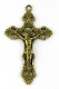 "Bronze Crucifix 2"" x 1 1/4"" Rosary Parts or Necklace Jesus As Low As $0.65 Each wholesale Catholic crucifixes"