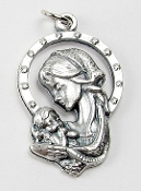 Madonna and Child Charm Silver oxidized Made in Italy 1""