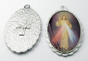 "Divine Mercy Medal 1 1/2"" oval SILVER Color Picture"