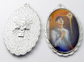 "Classic oil painting Medal 1 1/2"" oval SILVER Color Picture-St. Pedro Calungsod"