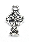 3D Tiny Silver Celtic Cross 1.5cm Silver Antique