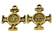 Saint Benedict Cross Antique Gold finish 1.8cm Italy