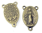 "Traditional Miraculous Rosary Centers 3/4"" Bronze Finish Rosary Parts"