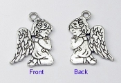 3D Tiny Silver Antique Praying Angel Girl Charm 2.0cm Parts