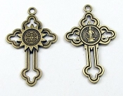 "Saint Benedict Cross Jubilee Deluxe Bronze Catholic Crosses 1 3/8"" x 1"""