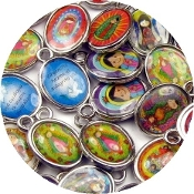 TINY Mixed Catholic Charms SILVER Oval 1.1cm Holy Saints medals subjects Vary