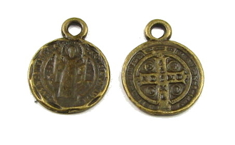 Tiny Saint Benedict Jubilee Bronze Antique medal 1.2cm ROUND