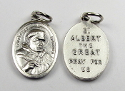 St Albert the Great Silver Oxidized medal charm Italy 1""