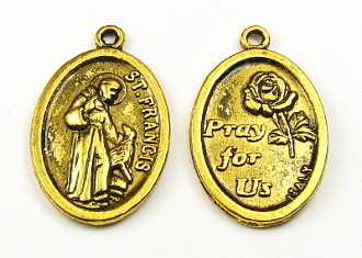 "St Francis Assisi with wolf medal ANTIQUE GOLD finish 1"" oval PRAY FOR US"