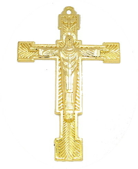 "Christ the King Cross Gold Plated Finish 2 3/8"" x 1 5/8"" Metal As Low As $0.85 Each wholesale"