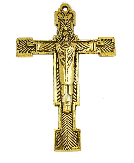 "Christ the King Cross Gold Antique Finish 2 3/8"" x 1 5/8"" Metal As Low As $0.85 Each wholesale"
