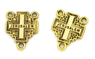 Jerusalem Cross Antique GOLD Finish 1.2cm Rosary Center part Inexpensive Rosary Centers to make rosaries-centerpeices Italy Center Rosary parts -Bulk