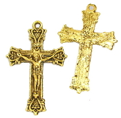 Antique Gold Crucifix 3.6 x 2.5cm Rosary Parts-Necklace