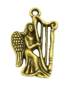 3D Bronze Finish Angel playing Harp Charm 2.0 x 1.5cm