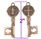 "Key of life---Large Key to Heaven Saint Benedict-Copper Finish metal-2"" Italy key shaped medal"
