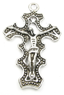 "Large Antique Silver Finish Crucifix 2 1/2 x 1 7/8"" Top Curved"