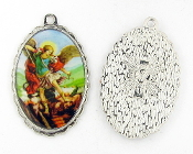 "Saint Michael Medal 1 1/2"" oval SILVER Color Picture-Classic oil painting design Clear Epoxy over picture Large Deluxe Picture charms - Catholic Medals in Full Color Picture"