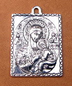 "Large 1 9/16"" x 1 1/4"" Lady Perpetual Help Silver Antique medal"