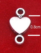 Inexpensive Tiny 3D Heart Connector 0.8cm Silver Antique Finish to Make rosaries or bracelets Silver Catholic Bracelet medals Parts religious Bracelet parts-WHOLESALE