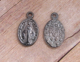 Tiny Miraculous Medal BLACK SILVER Oval 1.4 x 0.9cm