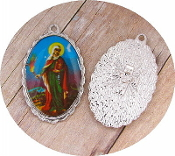 "Saint Martha Medal SILVER Color Picture Large 1 1/2"" oval"