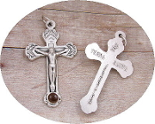 "TERRA SANTA Contains Dirt from Jerusalem Crucifix 1 1/2""-Inexpensive Metal Silver Oxidized Crucifix-Rosary parts, Neckless-Includes jump ring (Contains Dirt from Jerusalem)"