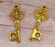 "Saint Benedict Key Antique Gold Finish -1 1/8"" Key of Heaven"