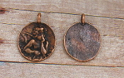 Copper Finish Angel Charm 1.3cm Round Medal Only