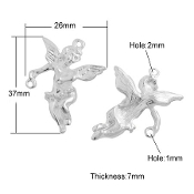 3D Silver finish Angel medal with connector 3.7cm