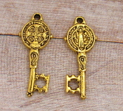 "Tiny 7/8"" Saint Benedict Key Antique Gold Finish - Key of Heaven"