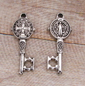 "Tiny 7/8"" Saint Benedict Key Antique Silver Finish Key of Heaven"