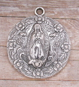 "Our Lady of Guadalupe Large Medal Silver Oxidized 1 5/8"" Round-Our Deluxe Guadalupe Medals are known for the most Beautiful intricate designs.Guadalupe medal a medal coated with an old-fashioned heirloom finish."