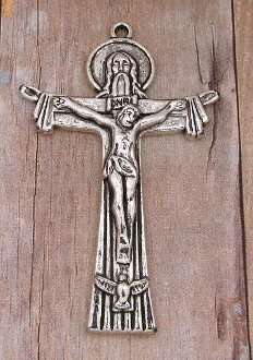 "Holy Trinity Crucifix Cross 2"" x 1 3/8"" Silver Antique Metal"" Rosary Parts Catholic Religious"