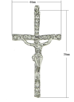 "Large Crucifix with 17 Auroa Crystal's 3 x 1 3/4"" Silver Plated Cross"