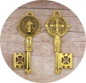 Saint Benedict Key-Key to Heaven Antique Gold FINISH-2""