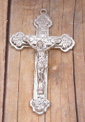 "Deluxe Polished Silver Plated Crucifix 1 7/8"" x 1 1/8"""