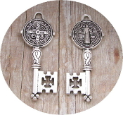 "Key of life----SILVER-Key of Heaven Saint Benedict 2"""" key shaped medal Antique Silver Plated"